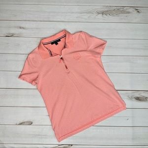 Tommy Hilfiger Peach Polka Dot Polo Shirt Size M